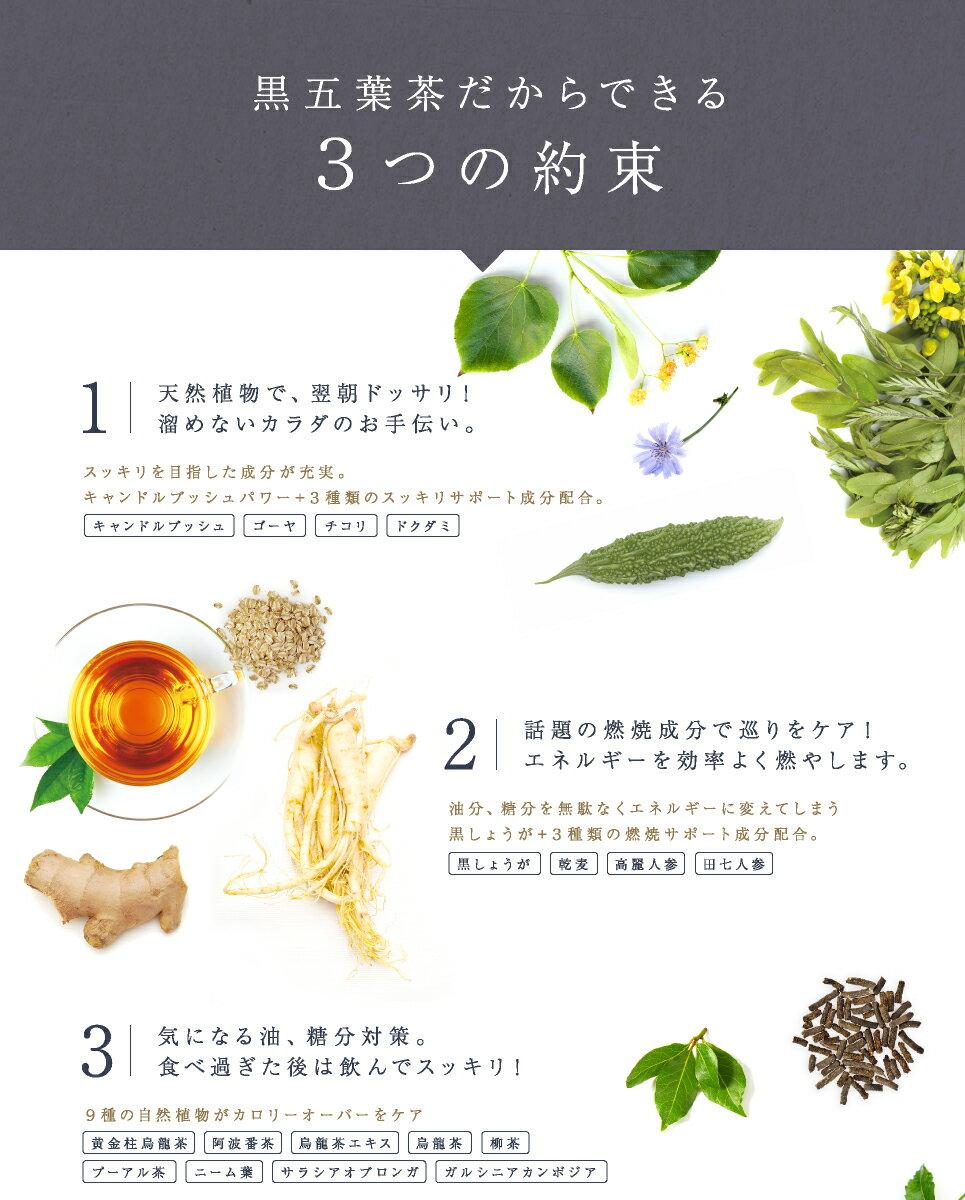 黒五葉茶だからできる3つの約束 1天然植物で、翌朝ドッサリ!溜めないカラダのお手伝い。 2話題の燃焼成分で巡りをケア!エネルギーを効率よく燃やします。 3気になる油、糖分対策。食べ過ぎた後は飲んでスッキリ!
