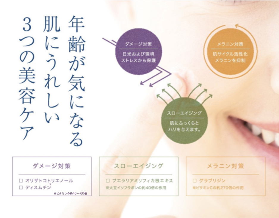 年齢が気になる肌にうれしい3つの美容ケア ダメージ対策 スローエイジング メラニン対策